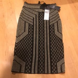 "NWT BCBG fitted black and gold ""Josa"" skirt"